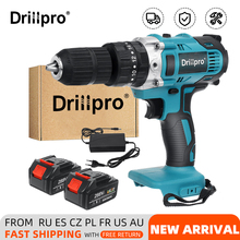 Drillpro 13mm Electric Drill 90N.m 3 in 1 Cordless Screwdrive Hammer Power Tools with 2X 15000Amh Li Battery
