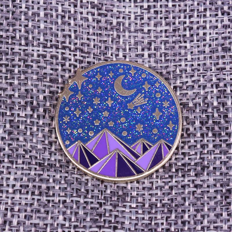 Cukup Malam Berbintang Glitter Lencana Pemandangan Gunung Alam Perhiasan