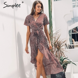 Image 5 - Simplee Lace up leopard print sexy long dress Summer V neck short sleeve dots plus size dress women Elegant split fashion dress