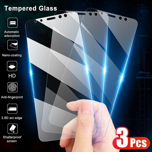 3 قطعة الزجاج المقسى واقية لسامسونج غالاكسي A6 A8 J4 J6 زائد 2018 شاشة حامي الزجاج سامسونج A5 A7 A9 J2 J8 2018 الزجاج