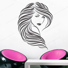 Beauty Salon Wall Decal Curly Hair Woman Face Vinyl Wall Sticker Beauty Salon window decor JH41 art wall sticker lashes salon eyelashes decor vinyl removeable beauty salon decoration make up extensions eyebrows decal ly265