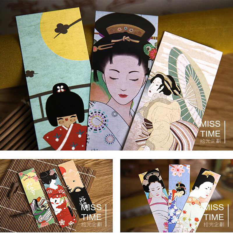 30 Sets / Sets Of Novelty Japanese Classical Creative Wind Cute Kawaii Paper Bookmarks And Style Art Office Stationery
