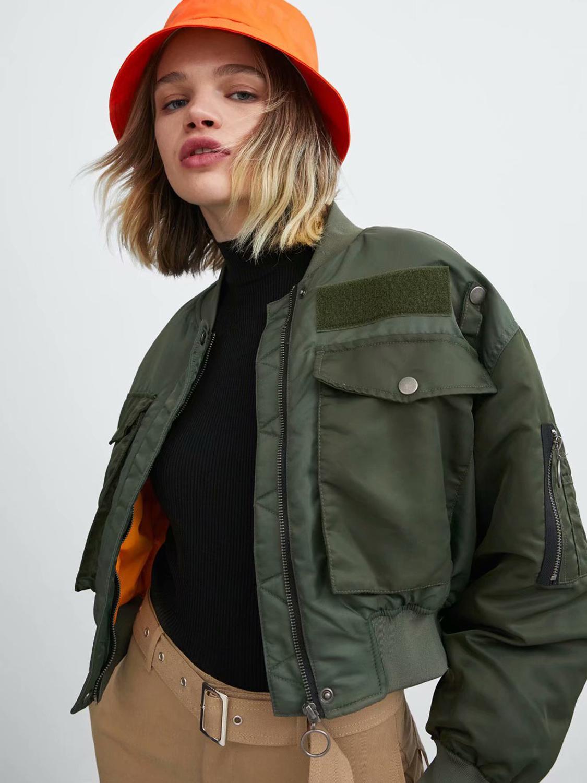 Female Jacket Parkas Winter Coat Zipper Autumn Femme Women Army Green Warm Artsnie Chaqueta