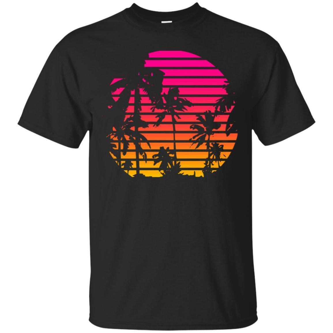 Black, Navy T-Shirt - Sunset Palm Tree - Outrun Synthwave New Retro Wave   Cartoon T Shirt Men Unisex New Fashion Tshirt