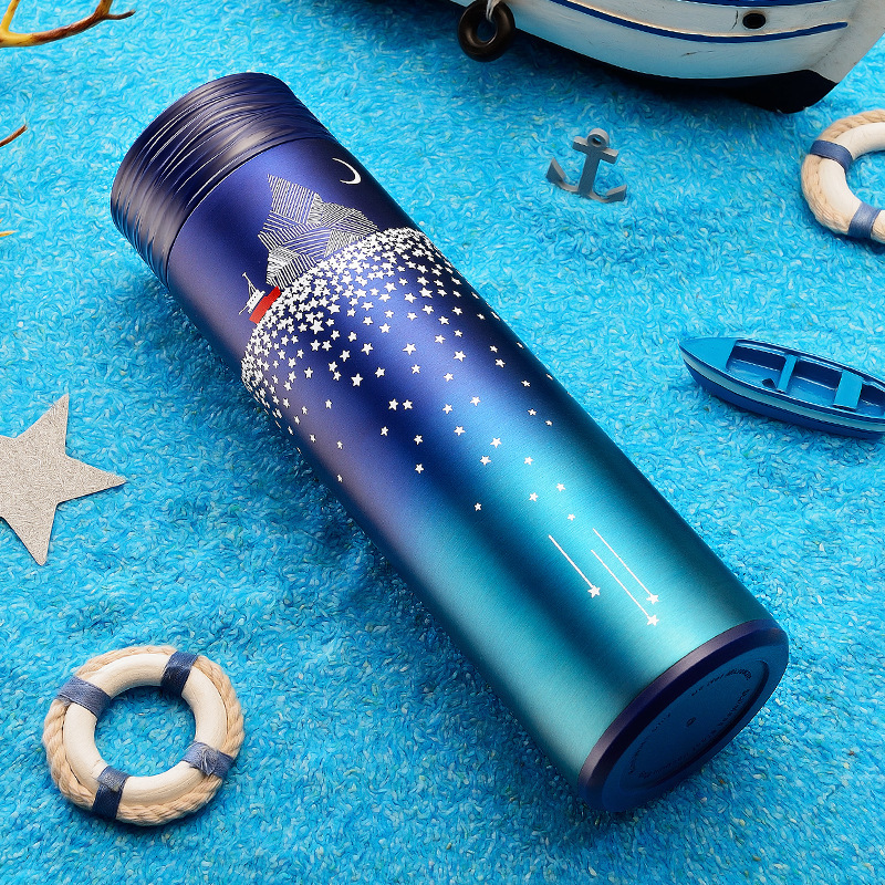 Soffe Creative Thermal Insulation Coffee Bottle With Starry Design 450ml Straight Body Stainless Steel Vacuum Thermos