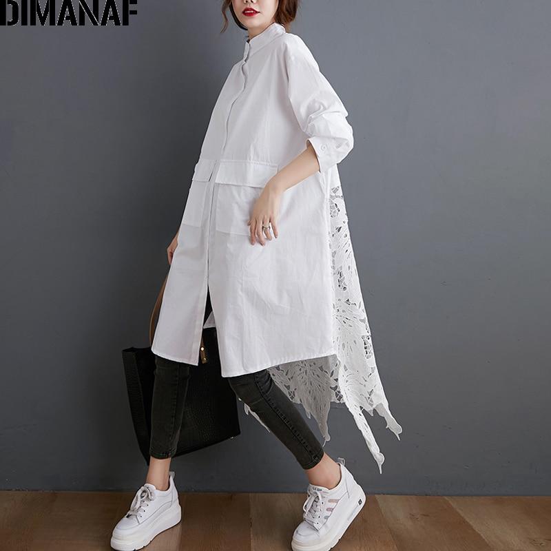 DIMANAF artı boyutu bluz gömlek kadın giyim moda dantel çiçek zarif kadın bluzları rahat gevşek uzun kollu düğme hırka