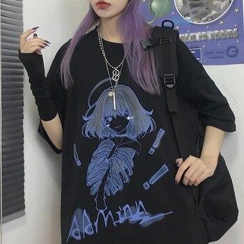 Gothic T-shirt Korean Style Graphic T Shirt for Women Ladies Summer Tshirt Harajuku Ulzzang Streetwear Goth Horror Clothes 1