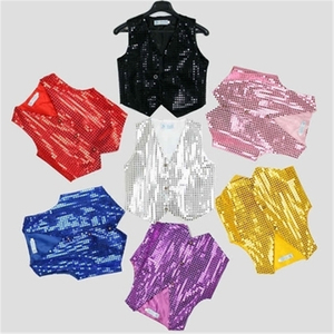 14Style Kids Jazz Dance Costumes Sequined Vest Hip Hop Shining Stage Performance Tops Vest for Boys Dancing Outfit Wear