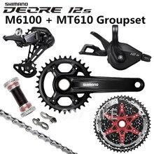 SHIMANO DEORE M6100 مجموعات 34T 32T كرانسيت دراجة هوائية جبلية مجموعة 1x12 Speed 10 51T 11 51T M6100 مجموعات + MT610 كرنك