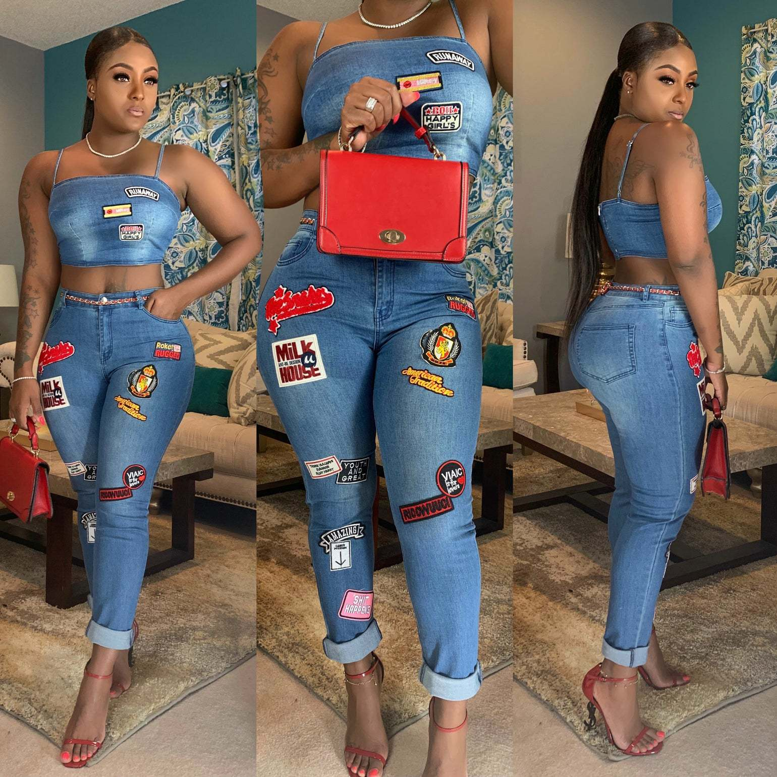 2019 European And American Women's Summer New Cartoon Stickers Flanging Fashion Jeans Suit