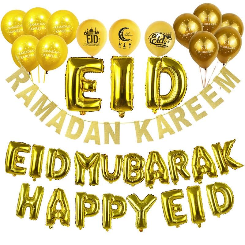 Eid Mubarak Decor Oro Argento Eid Banner Ramadan Kareem Decorazione Lettera Foil Palloncino In Lattice Ballons Felice Eid Rifornimenti Del Partito