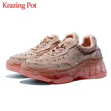 Krazing pot sweet maiden crystal studded sneaker ronde neus lace up hoge hakken leisure dagelijkse slijtage vrouwen gezellige gevulkaniseerd schoenen l07(China)