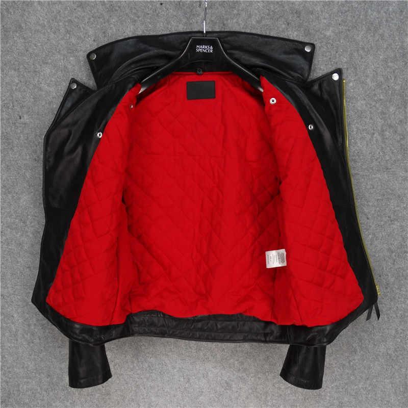 2020 Blakc hombres American J24 motocicleta chaqueta de cuero de talla grande XXXL cuello de lana genuino de cuero de vaca caliente chaqueta de motociclista envío gratis