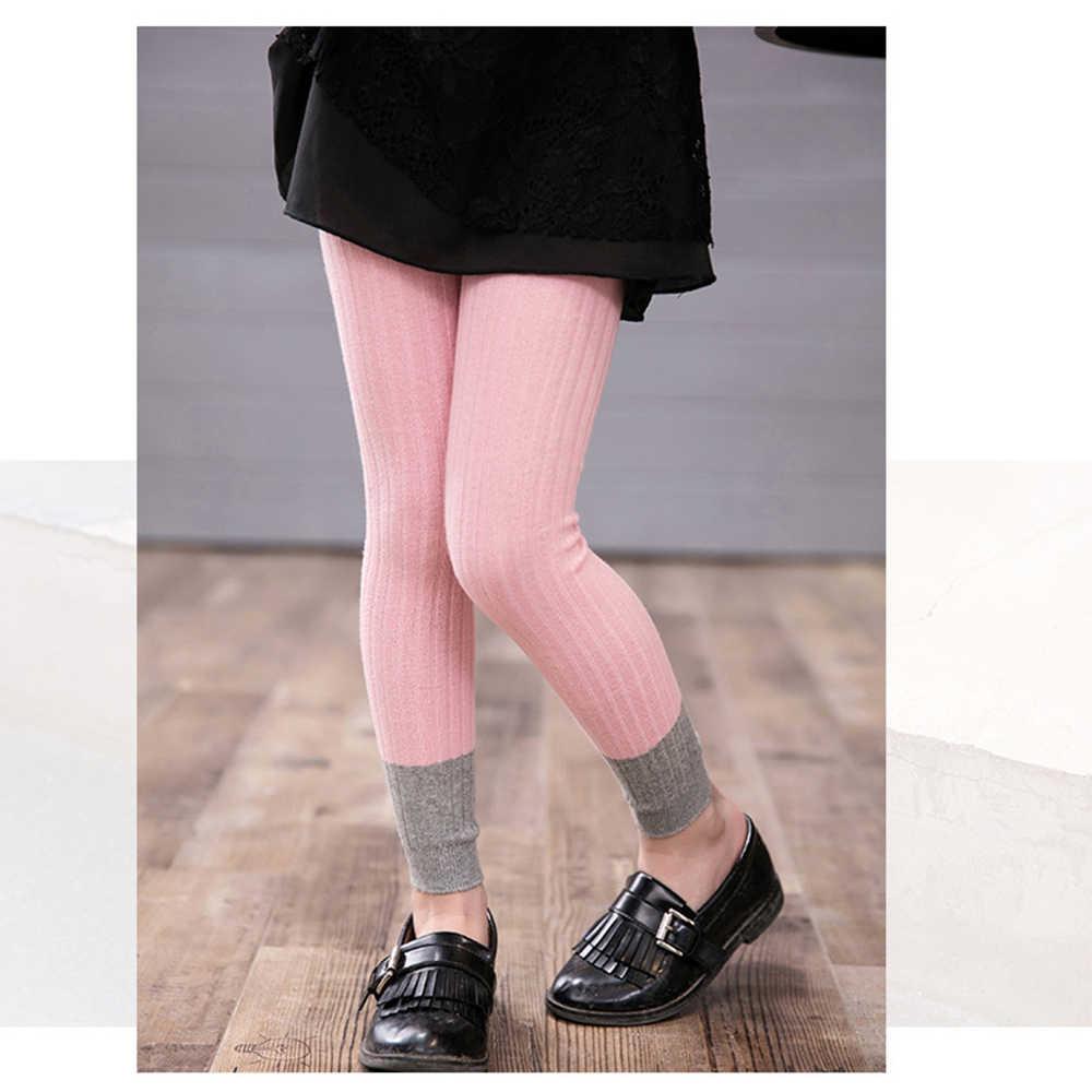 Enfants tricot pantalon Leggings maigre élastique fille leggings Getry pantalon printemps automne bonbons couleur Leggins Leginsy bébé enfants
