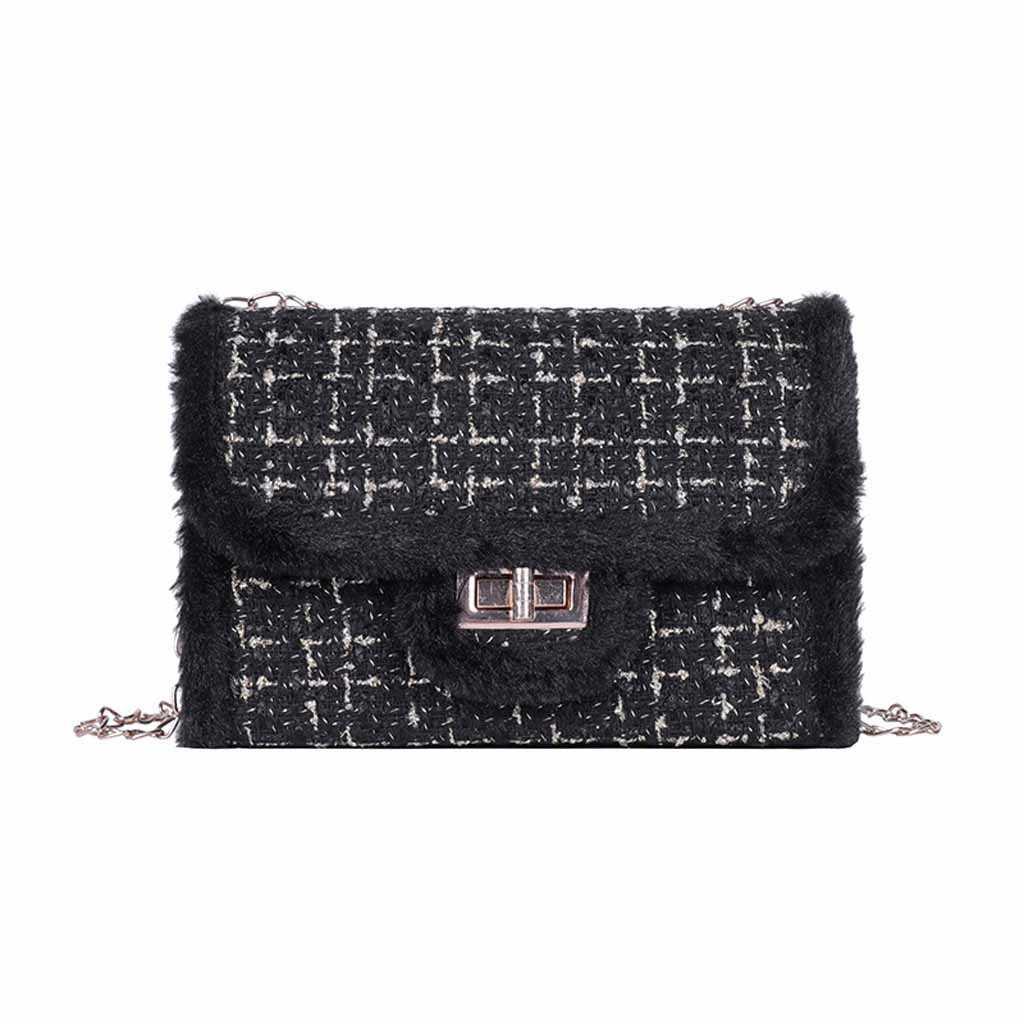 Женская вечерняя Роскошная маленькая квадратная сумка на плечо, женская сумка через плечо, новинка 2019, модная шерстяная сумка-мессенджер с цепочкой
