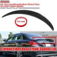 W205 Real Carbon Fiber Car Rear Trunk Boot Lip Spoiler Wing Lid Big For Mercedes For Benz W205 C300 C400 4Matic 2015 2019