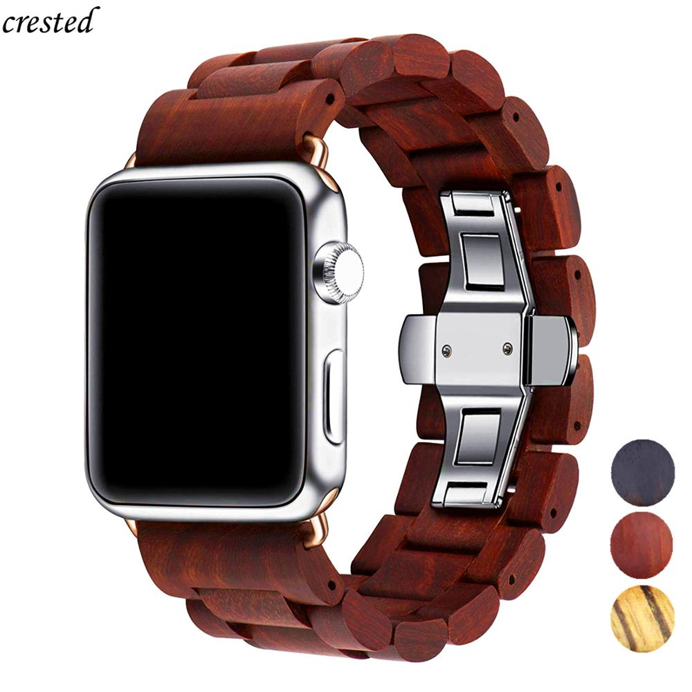 Wooden Strap For Apple Watch Band 44 Mm 40mm IWatch Band 42mm 38mm Metal Butterfly Clasp Bracelet Apple Watch 5 4 3 2 1 Series