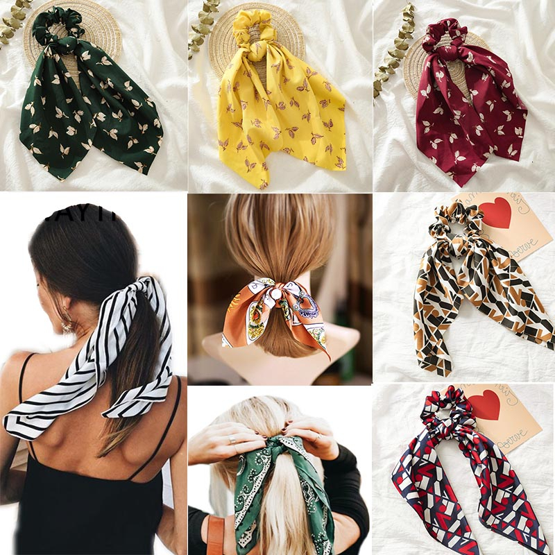 Ponytail Floral Print Ribbon Scrunchies For Women Elastic Hair Bands Streamers Bow Hair Scarf Rope Ties Fashion Hair Accessories