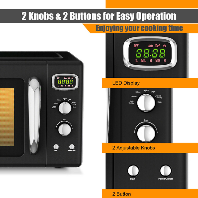 0.9 Cu.ft Microwave Oven Electric Bake Microwave Safe Kitchen Appliances with a Child Lock Function Intelligent Control 4
