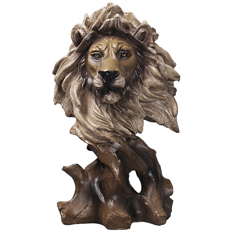 Nordic Creative Tiger Lion Head Faux Wood Arts Wolf Eagle Animal Sculptures Horse Figurine Resin Crafts Home Decoration R4061