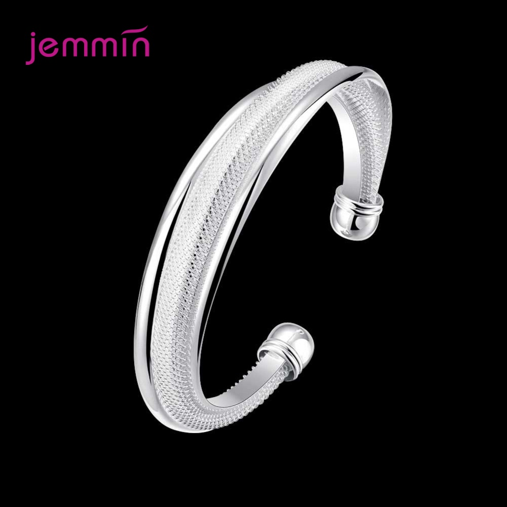 Solid Pure 925 Sterling Silver S925 Bracelet Retro Cuff Bangles For Women Female Adjustable Size Trendy Anniversary Gift