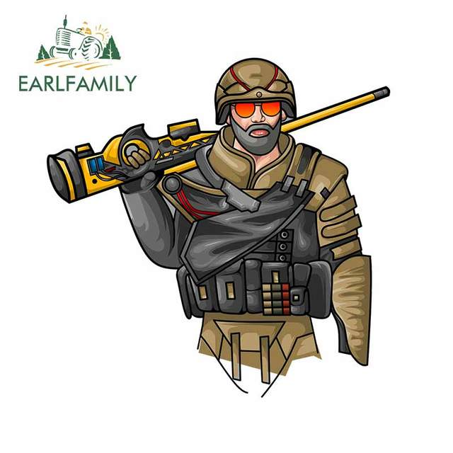 EARLFAMILY 13cm x 12.9cm pour soldat porté un fusil de Sniper camping-Car camion décalcomanie imperméable autocollant anti-rayures housse de voiture en vinyle