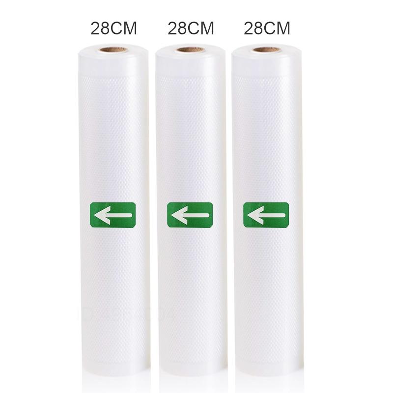 3 Rolls Food Vacuum Sealer Bags 12 15 20 25 28 X 500cm For Food Saver Rolls Home Sealing Vacuum Packer Bags