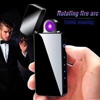 Nova fiação usb isqueiro eletrônico led bateria display 180 graus rotação isqueiro duplo arco isqueiro gadgets para homem