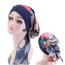 여성 인쇄 실키 터 번 이슬람 Pre Tied Hijabs 긴 꼬리 활 머리 스카프 착용 준비 넓은 밴드 탄성 두건 모자