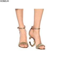 Designer G Sandals Women luxury 2019 Summer Shoes High heels Brand Gold Black Ladies wedding Woman NO logo