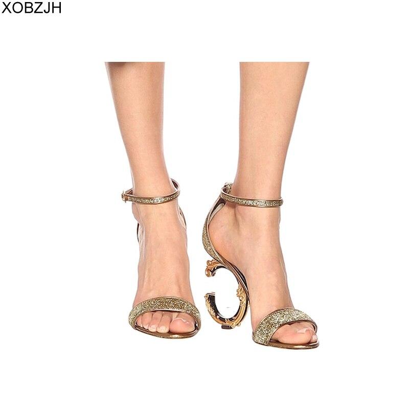 Designer sandales femmes luxe 2019 chaussures d'été talons hauts marque or noir sandales dames de mariage sandales chaussures femme pas de logo