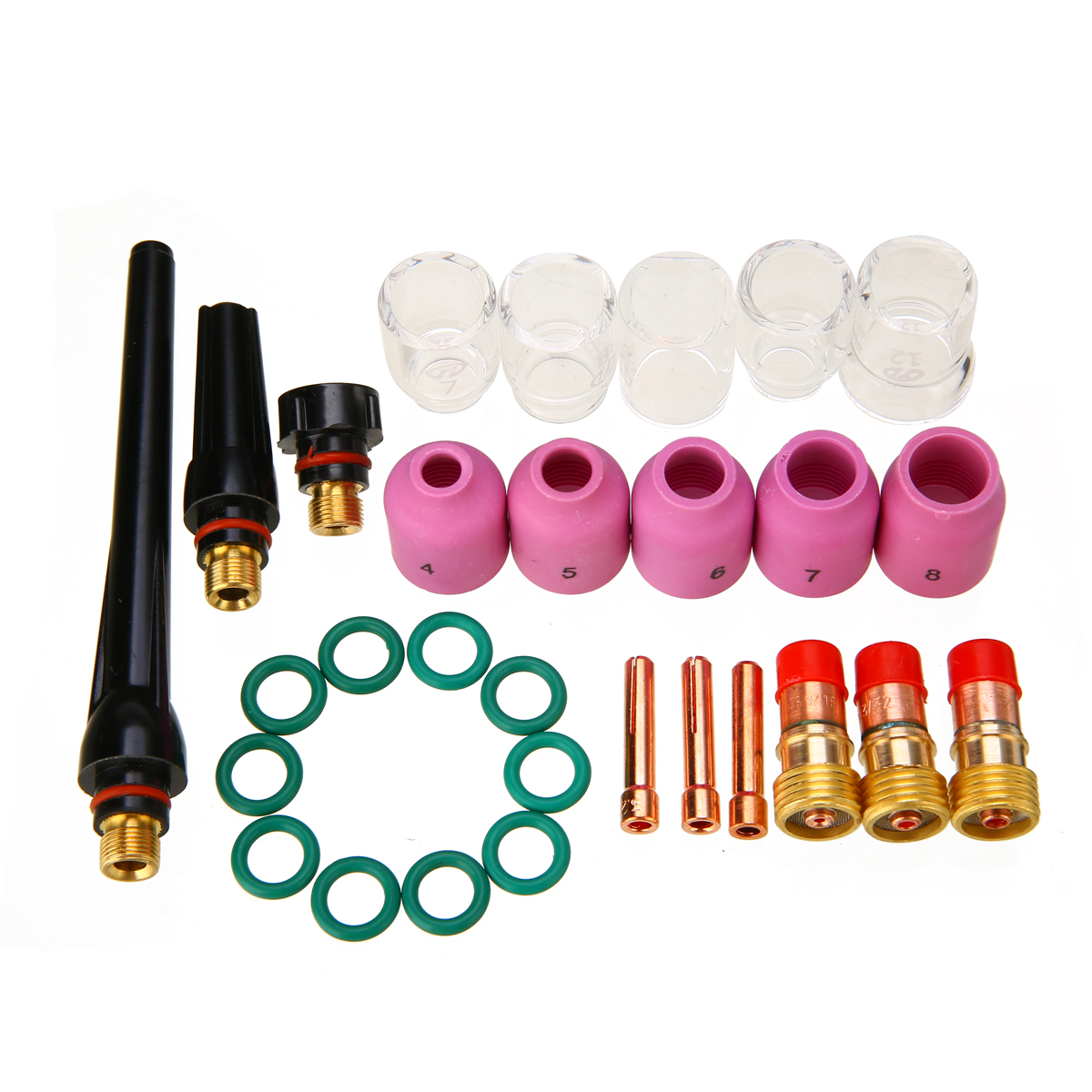 31pcs TIG Welding Torch Consumables Gas Lens Pyrex Glass Cup Set For WP-17//18//26