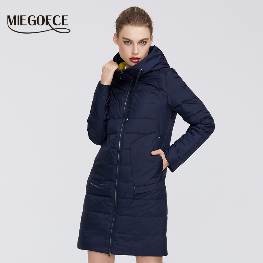 MIEGOFCE 2020 New Spring Autumn Women's Cotton Jacket Medium-Long Windproof With Collar And Hood Interesting Firmware Design