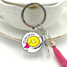 Hot! 2019 New Key Ring You Are My Sunshine Glass Cabochon Pendant Keychain Tassel Hanging Jewelry