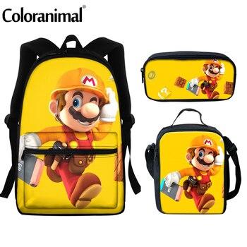 цена Coloranimal 2020 3Pcs/Set School Bag Japanese Anime Super Mario Print Kids Schoolbag Backpacks Children Book-bag mochila escolar онлайн в 2017 году