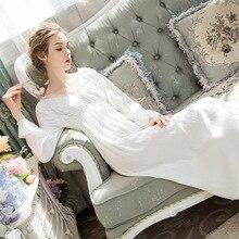 Gecelik pamuk gecelik zarif uyku elbise sonbahar pijama fener kollu yay uzun prenses tarzı pijama