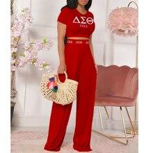 Camiseta Delta Sigma Theta para mujer, pantalones acampanados, traje informal de dos piezas, estampado de moda, conjunto de ropa de manga corta 2021