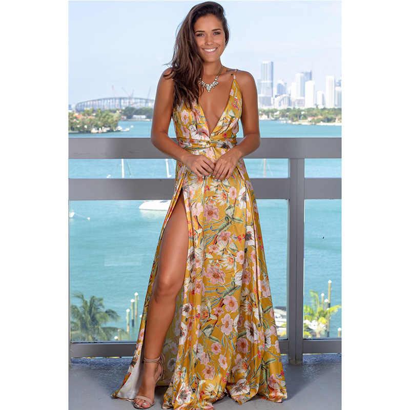 2020 abito primaverile abito lungo Sexy floreale abiti a pieghe lunghe abito senza schienale abito lungo scollo a V femme
