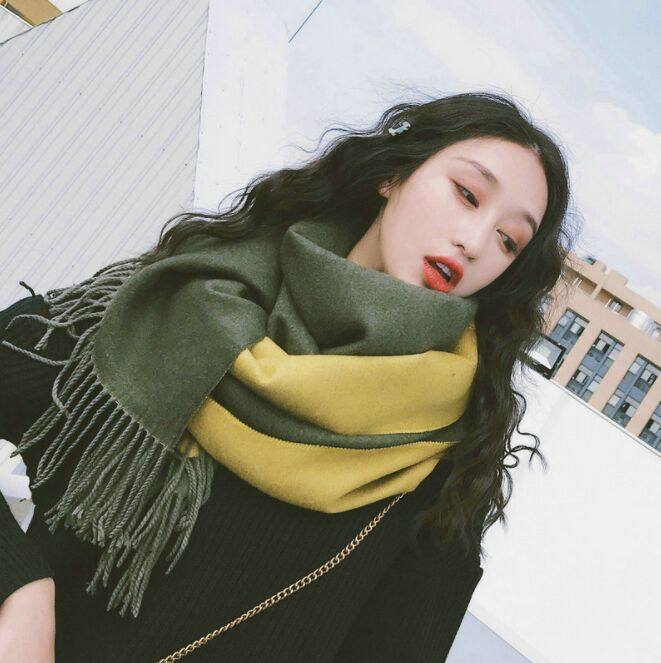 XUNCE001 195*70cm Winter Vintage Thick Warm Tassel Blanket Shawl Women's Cashmere Thick Wool Scarf Scarves Pashmina Tippet