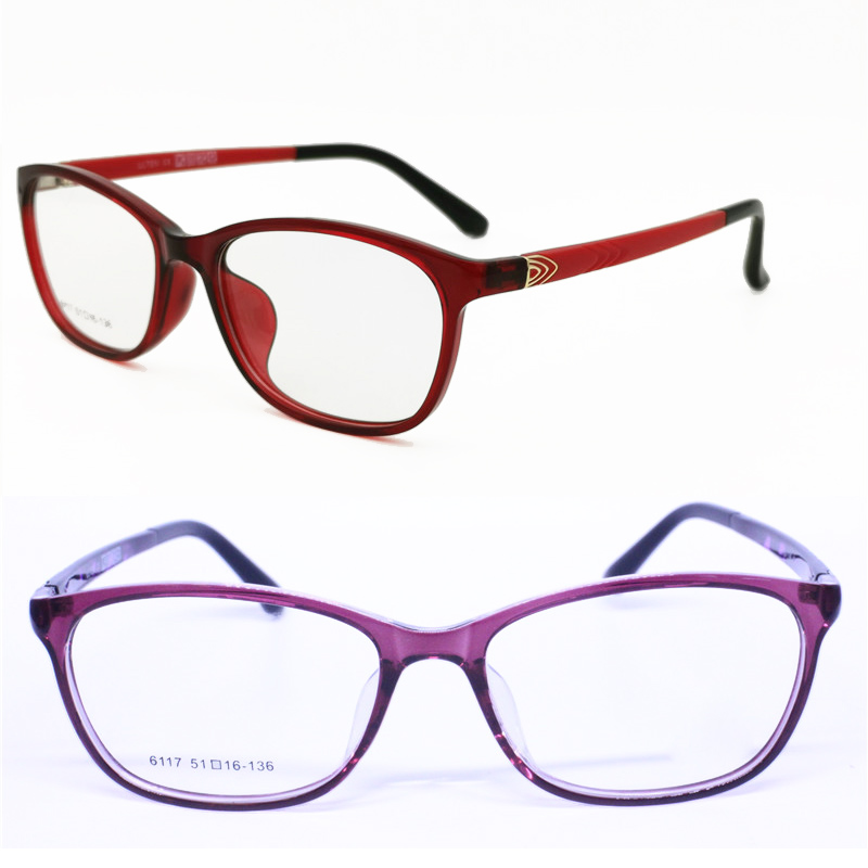 hotsale 6117 square-roun full-rim ultra lightweight ULTEM with metal decoration prescription glasses frames for ladies