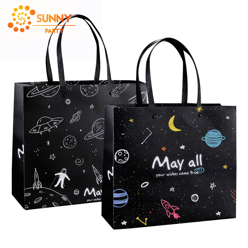 Space Universe Theme Package Bag Astronaut Black Color Paper Packaging Bags Decoration Supplies Boys Birthday Gift Tote Bag