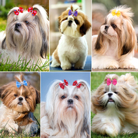 New Dog Grooming Bows Diamond Pearls Style Dog Accessories