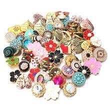 Atacado 10 pçs/lote 18mm snap jóias mix muitos estilos 18mm metal snap botões ouro rosa botões de ouro strass snaps jóias