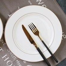 Phnom penh placa de café da manhã redonda ocidental placa criativa utensílios de mesa do agregado familiar osso china prato prato plana placa de bife cerâmica