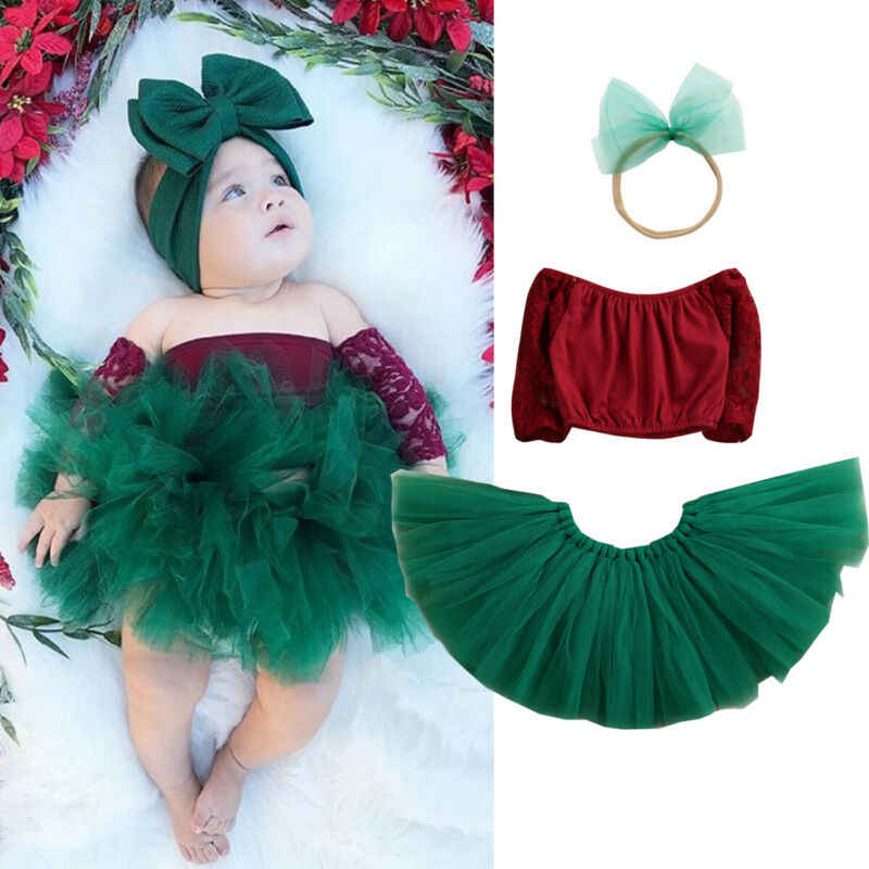 Newborn Infant Baby Girl Christmas Clothes Sets Off Shoulder Top+Lace Tutu Skirt Headband 3pcs Xmas Party Outfit