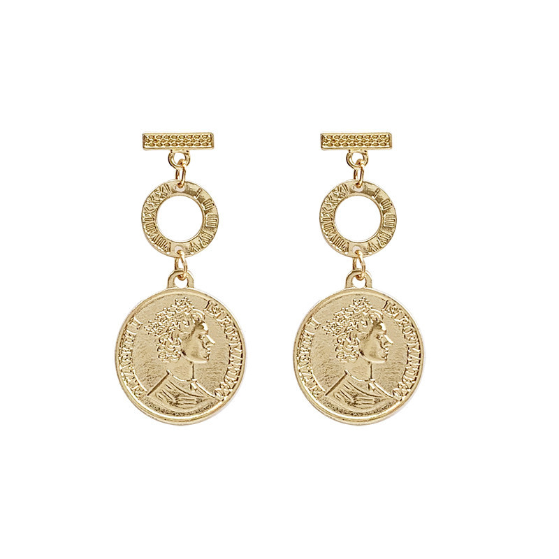 Vintage Round Golden Coin Portrait Metal Drop Earrings Classic Specie Pendent Earrings for Women Girl Ear Jewelry Gift Wholesale