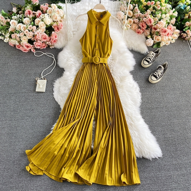 Women s Romper Spring Autumn Turn-Down Collar Sleeveless Vintage Playsuits Female Off Shoulder Pleated Jumpsuit New Fashion