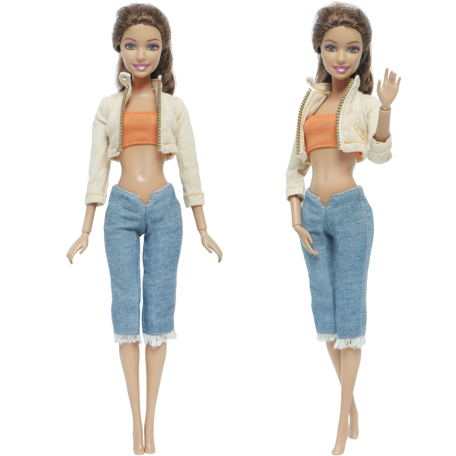 Fashion Lady Outfit Coat Orange Shirt Trousers Jeans Daily Casual Wear Accessories Clothes For Barbie Doll Baby Girl DIY Toy