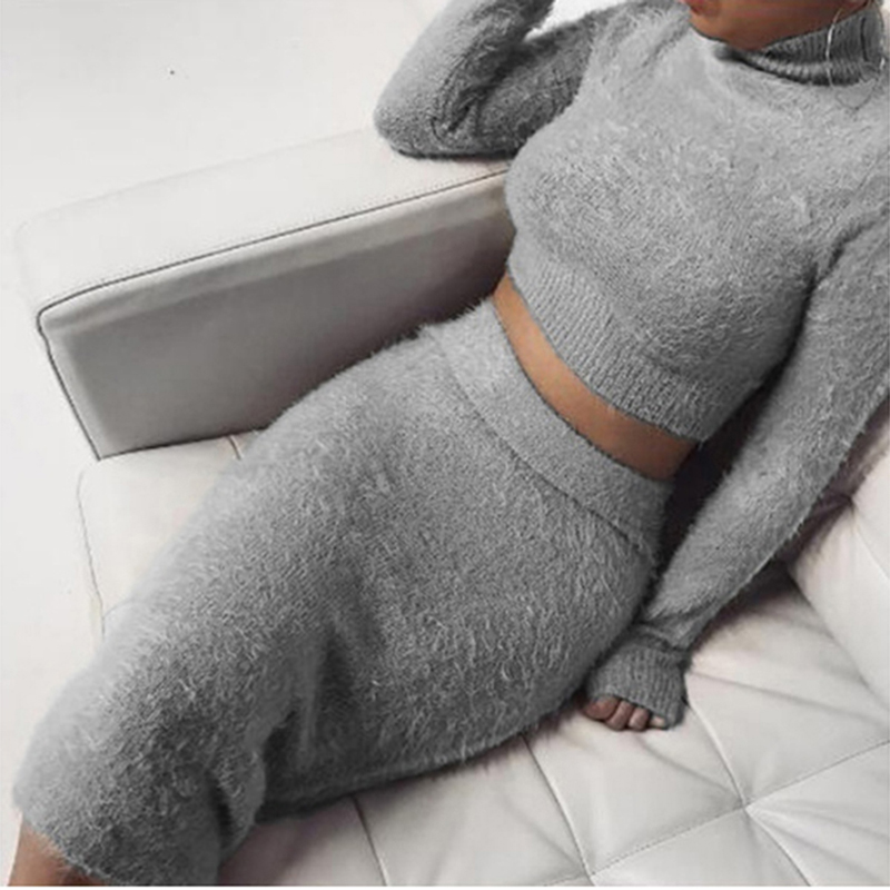 Two Piece Set Autum Women Knit Turtleneck Long Sleeve Pullover+ Knee-Length Bodycon Skirt 2 Piece Set Women Clothes