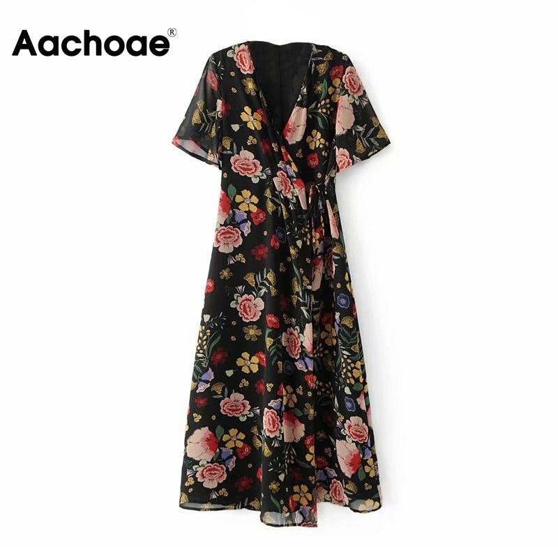 Aachoae Chiffon Floral Print Boho Dresses Women V Neck Elegant Long Wrap Dress Summer Short Sleeve Casual Beach Dress Sundress